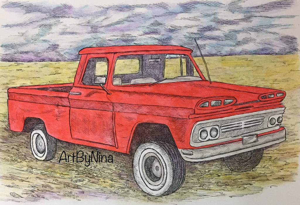 Truck Print - Red Truck #156