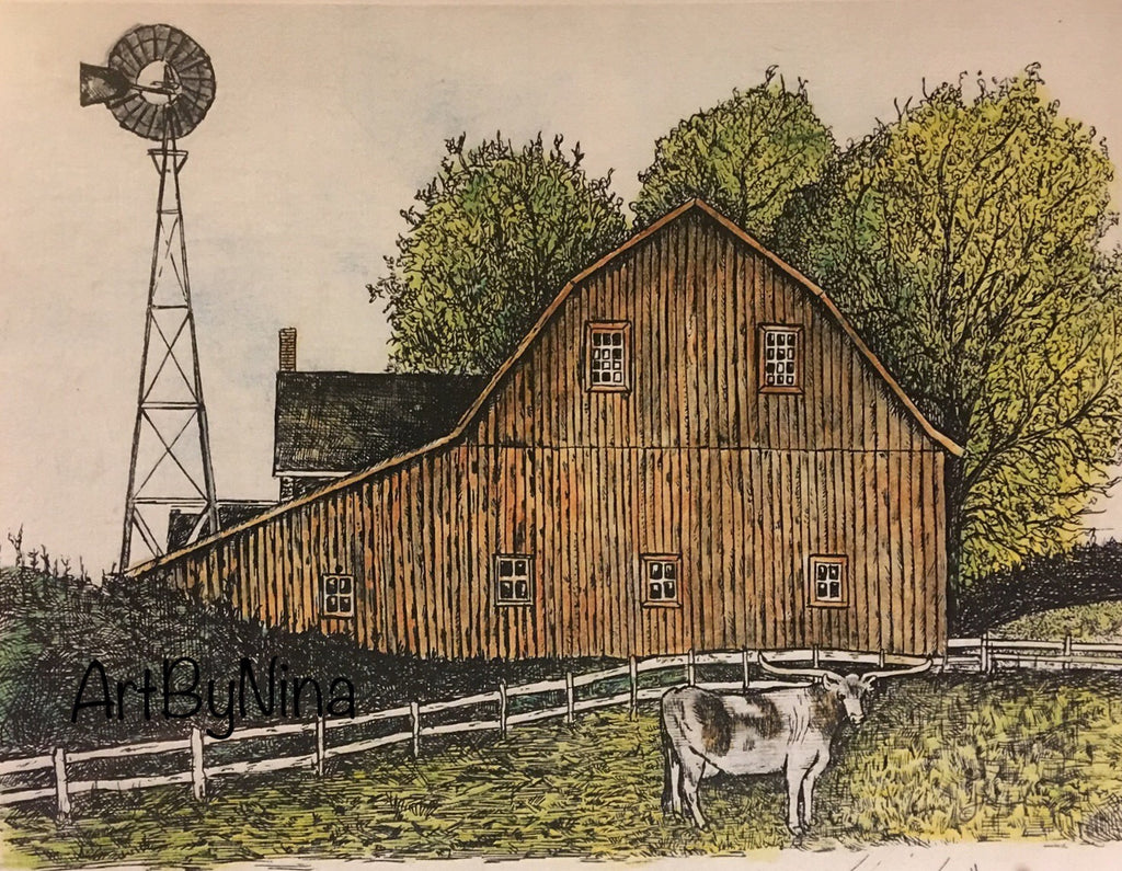 Barn Art - Barn with Longhorn and Windmill #272