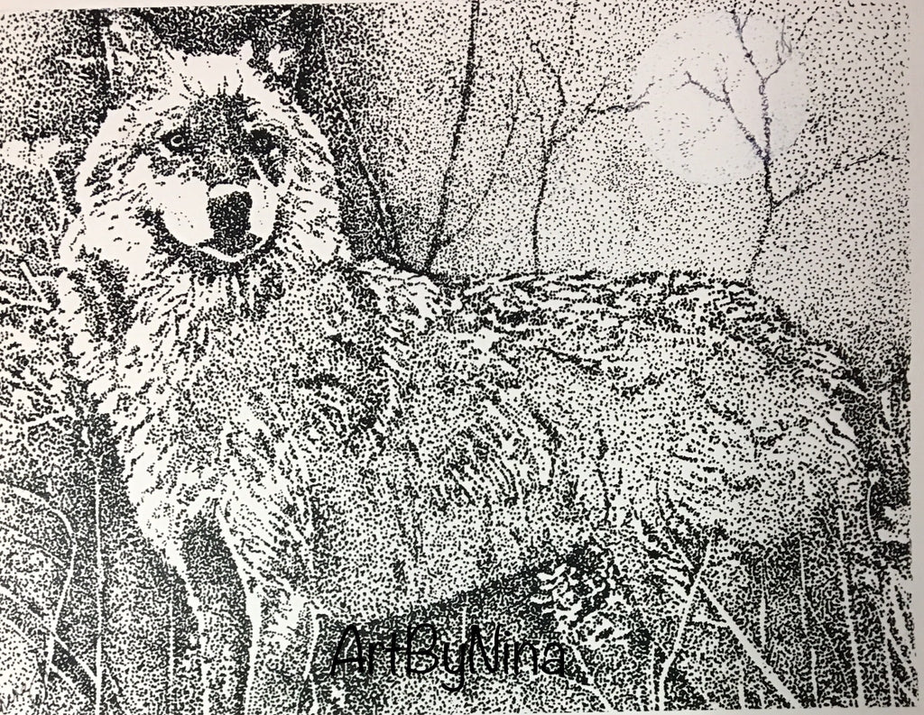 Animal Print - Moonlit Wolf #113