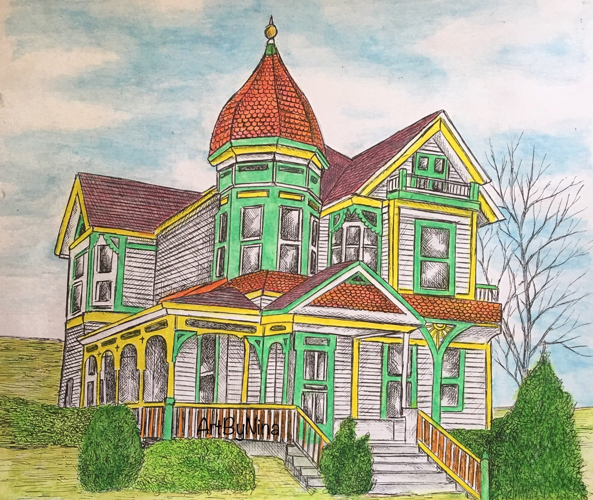 Architecture Print - Victorian House on Hill #191
