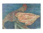 Bird Print - Two Chickens on Fence #024a
