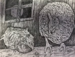 Bird Print - Moonlit Chickens #309