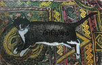 Animal Art - Tuxedo Cat on Rug #201