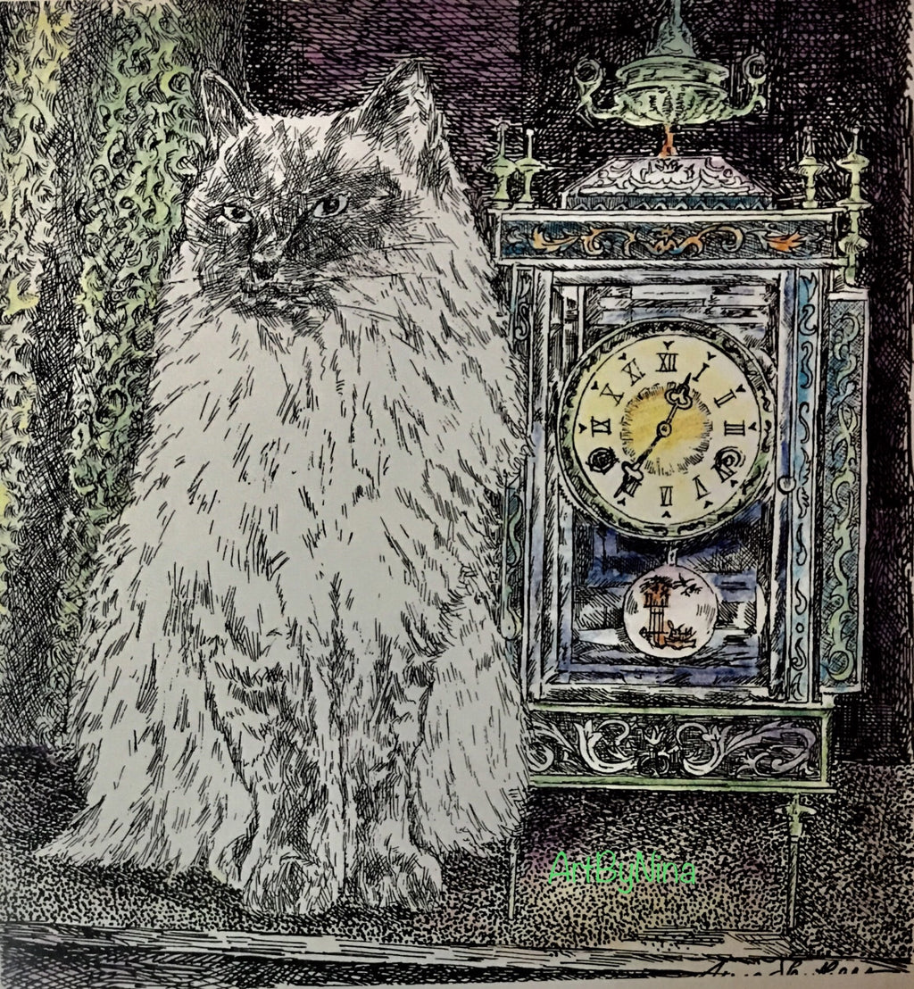 Animal Print - Cat and Clock #204