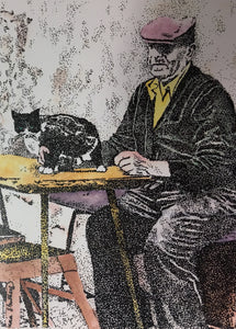People Print - Grandfather with Cat #269