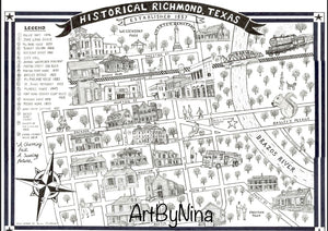 ART PRINT OF DOWNTOWN RICHMOND TEXAS