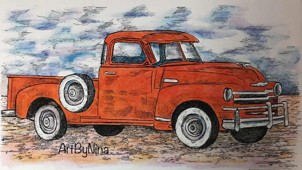 Truck Print - Old Red Chevy Truck  #143