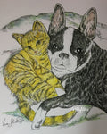 Animal Print - Boston Terrier & Kitten #225