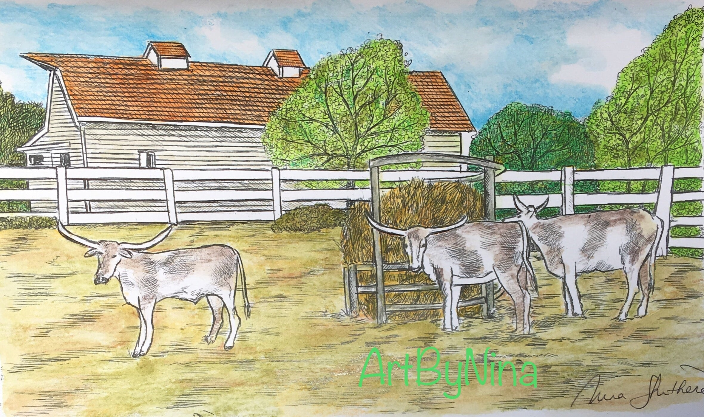 Architecture - Barn with Longhorns #303