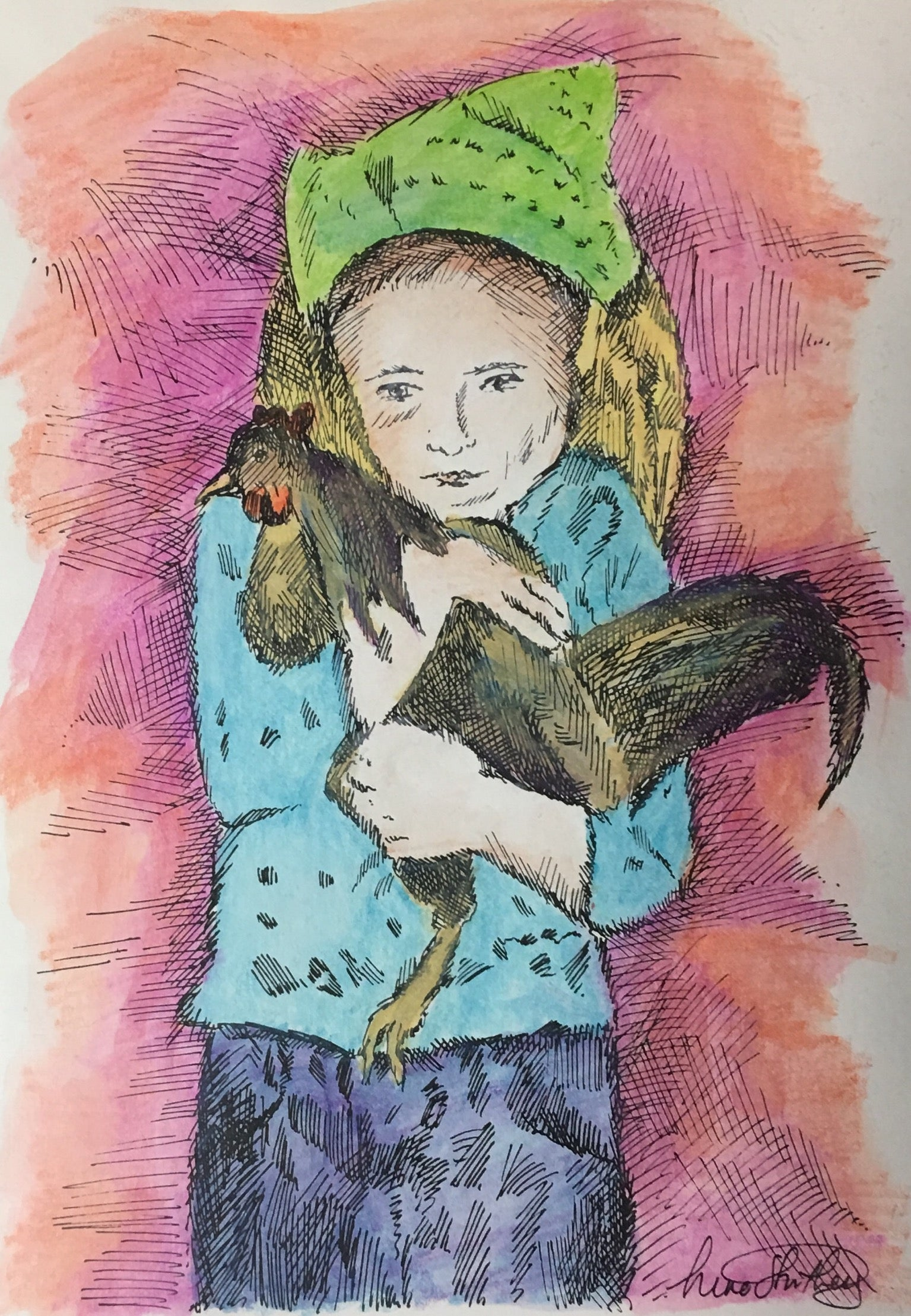People Print - Girl with Pet Rooster #268