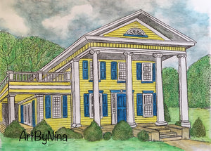 Architecture Print - Yellow Colonial House #173