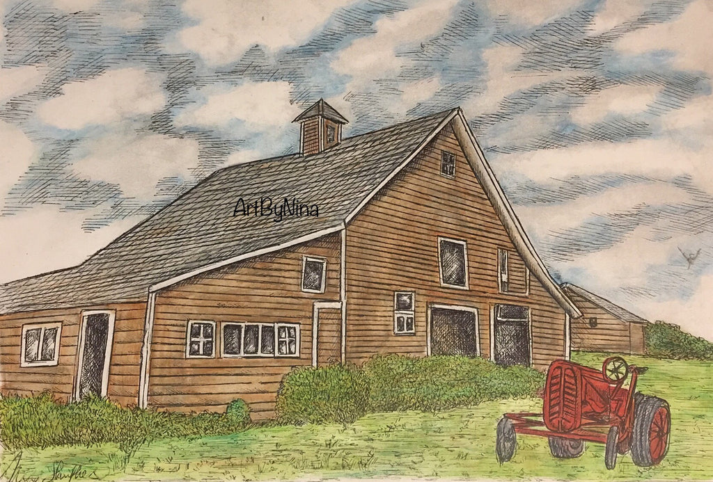 Barn Art - Brown Barn with Tractor #270
