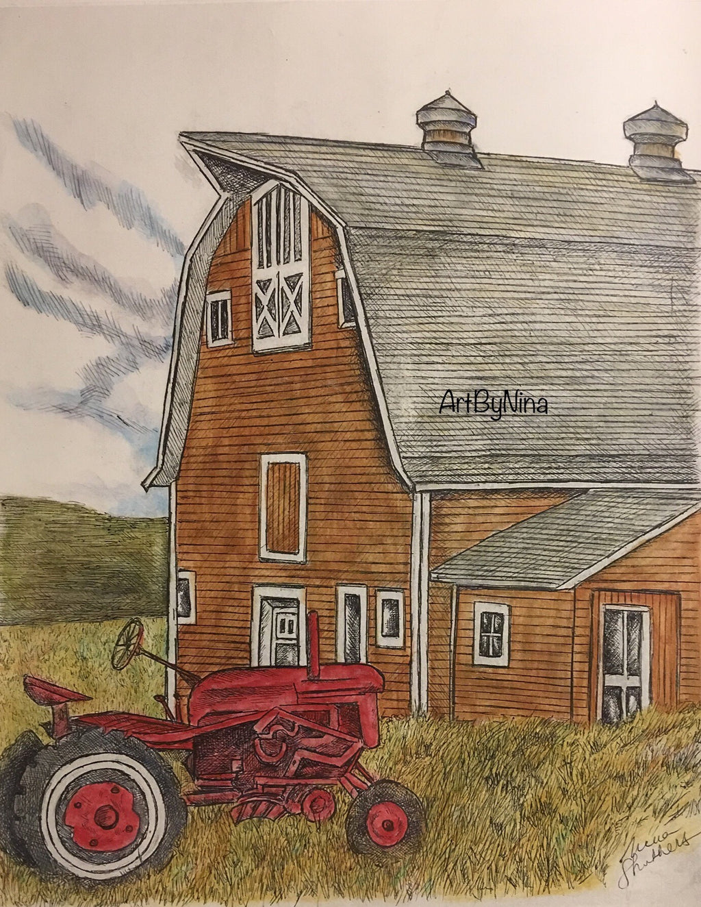 Barn Art - Barn with Tractor (Vertical) #268