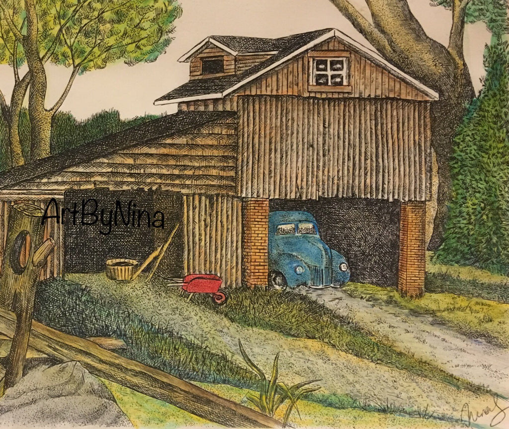 Barn Art - Barn with Blue Car #275