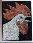 Bird Art - Silver Rooster #316