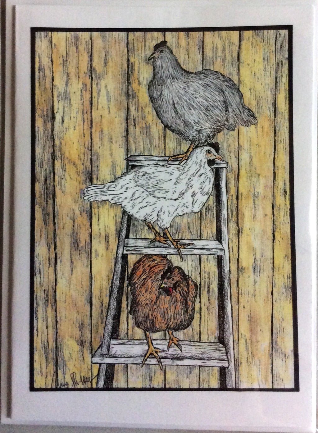 Bird Art - Ladder Roosters #317