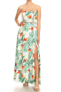 Strapless print tropical maxi dress