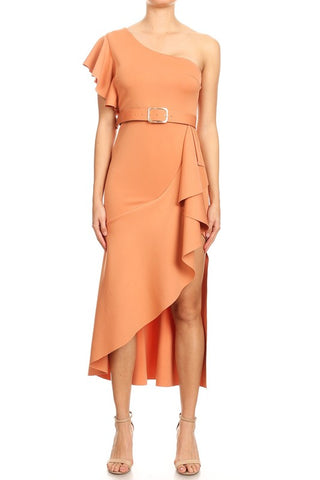 One Shoulder ruffle sleeve midi dress