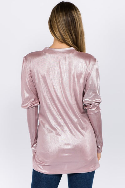 Metallic Pink twist front puff sleeve top