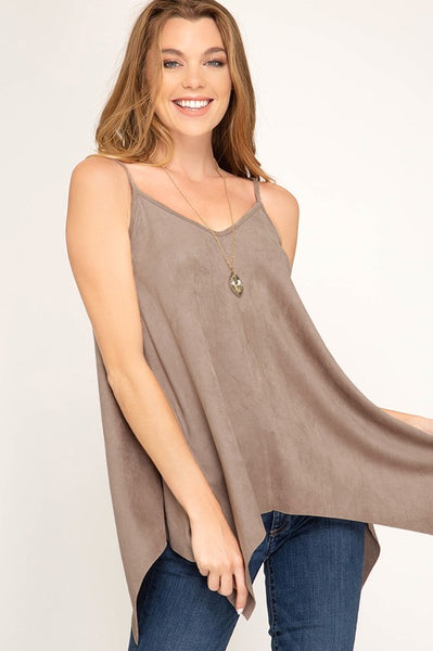Sleeveless faux suede top