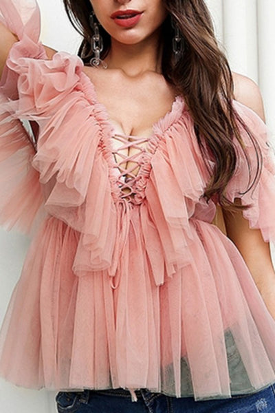 Ruffle off the shoulder top (pink)