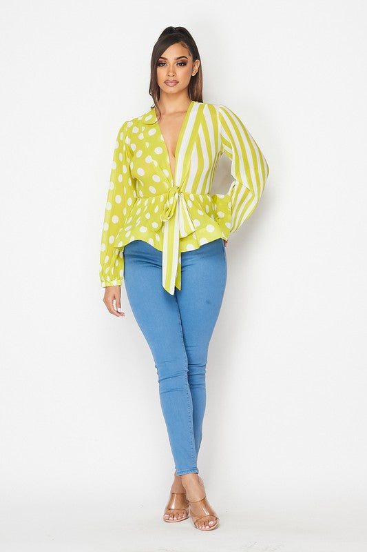Yellow polka dot and stripe peplum blouse