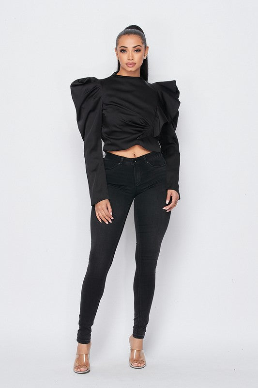 Puff Sleeve Top (Black)