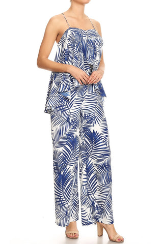 Blue and white tropical print jumpsuit
