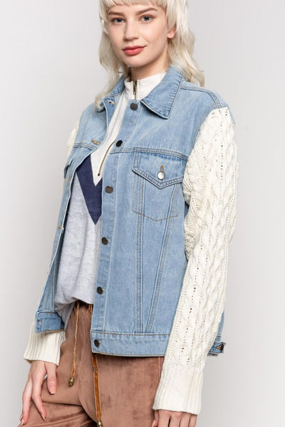 Light Blue Demin Sweater Jacket