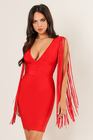 Red Bandage fringe dress