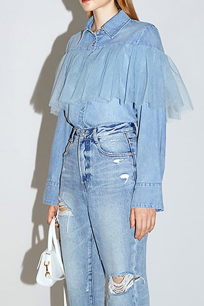 Denim ruffle top