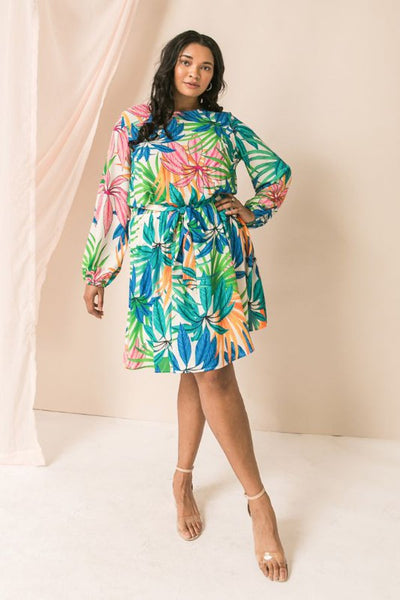 Floral belted mini Dress (Curvy)