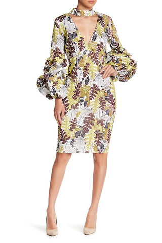 PUFFY LONG SLEEVE PRINT CHOKER DRESS
