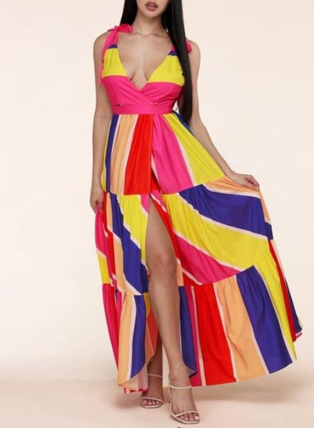 Multi color wrap maxi dress