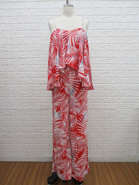 Red and white tropical jumpsuit