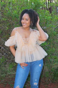 Ruffled off the shoulder top (beige)