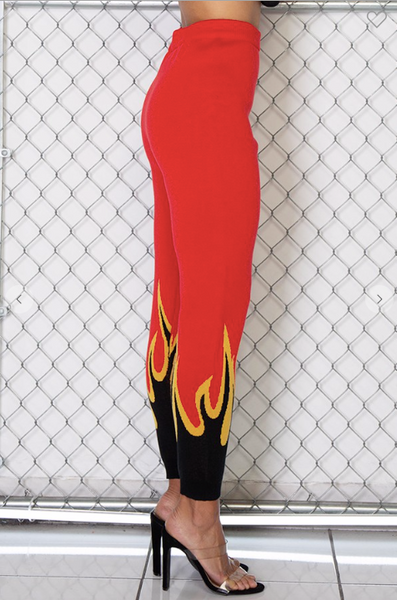 Fire pattern high rise knit joggers