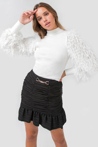 Knit sweater with furry sleeves (white)