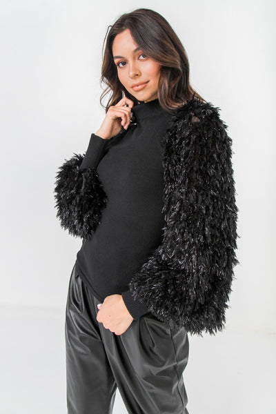 Knit sweater with furry sleeves (black)