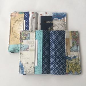 Atlas Passport Cover, beautiful blues and pinks, Passport Wallet, Passport Holder