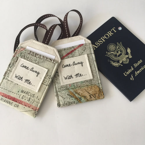 Map Luggage Tag Set, Come Away With Me, Romantic Travel Gift