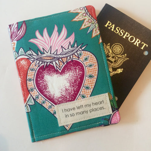 Passport Wallet, I have left my heart in so many places, Tattoo Print Fabric Passport Cover