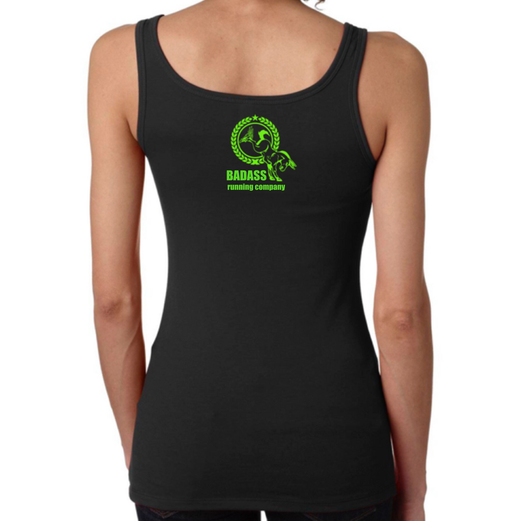 Womens Badass Tank Regular Lime Green Logo