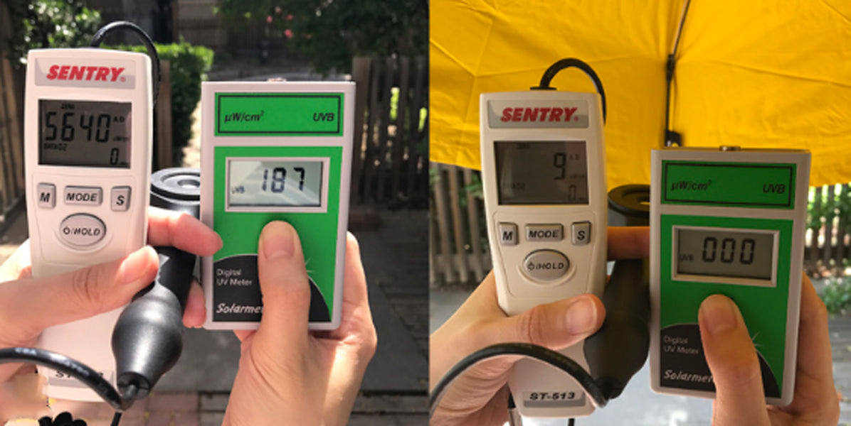 UV index recorded under open air and under an umbrella