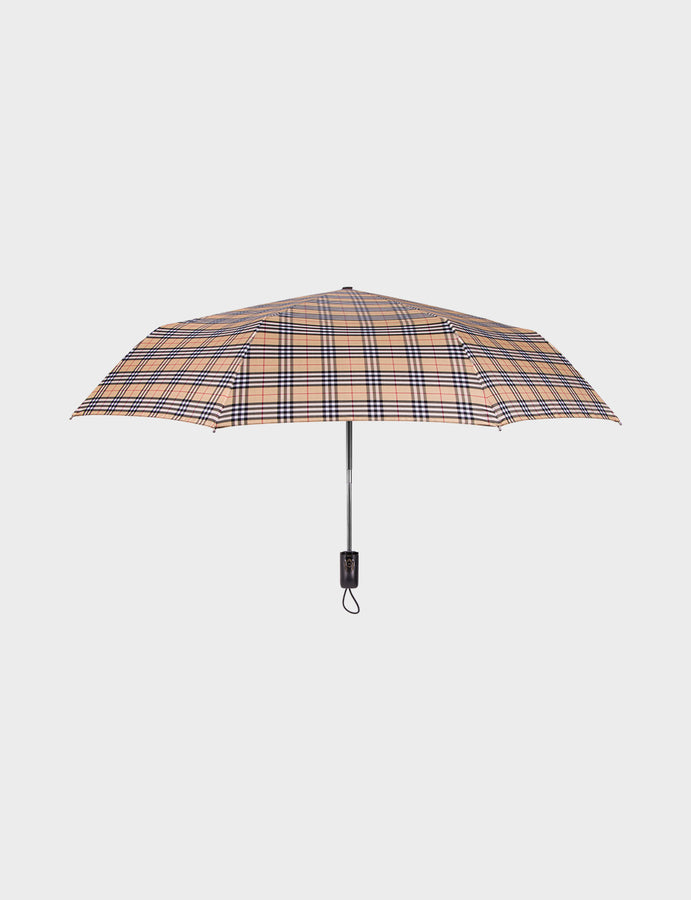 Auto Open Close Travel Checkered Umbrella