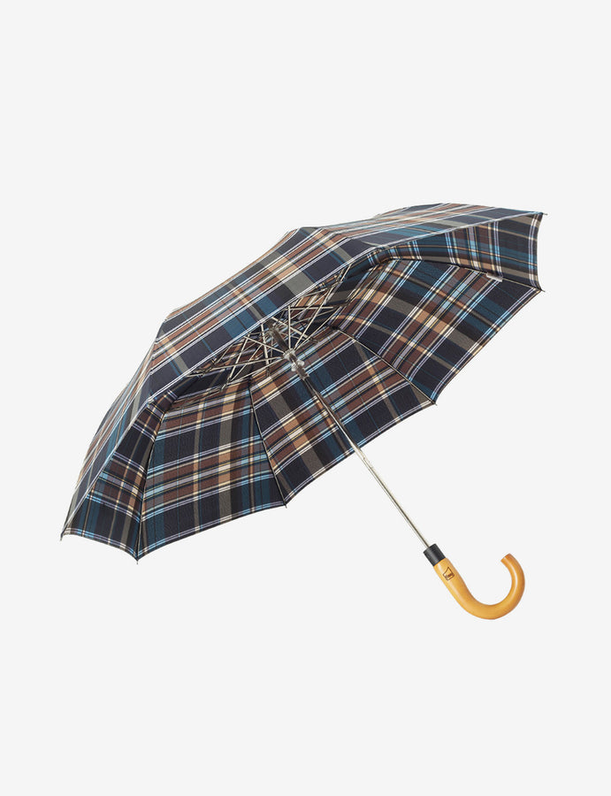 Auto-Open Checkered Umbrella Maple Wood