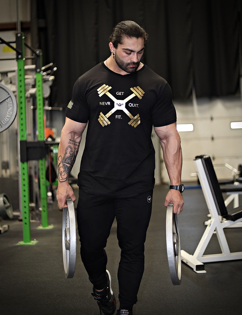 DUMBBELL CROSS V-NECK TEE - FLEX-N-FLEX