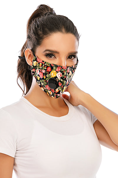 Face Mask With Breathing Valve - Flower