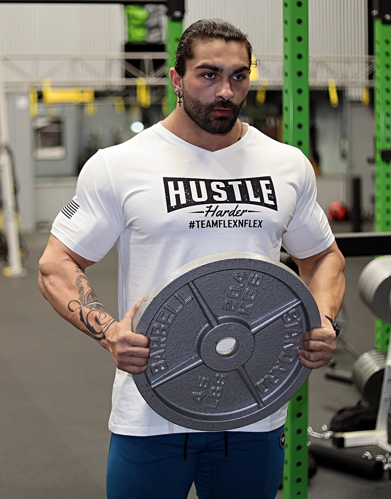 HUSTLE HARDER V-NECK TEE - FLEX-N-FLEX