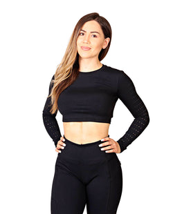 SCULPT LONG SLEEVE CROP TOP - FLEX-N-FLEX